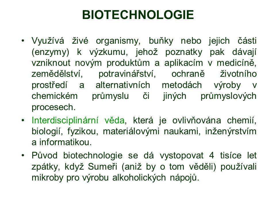 Využívá živé organismy, buňky nebo jejich části (enzymy) k výzkumu, jehož poznatky pak dávají vzniknout novým produktům a aplikacím v medicíně, zemědě