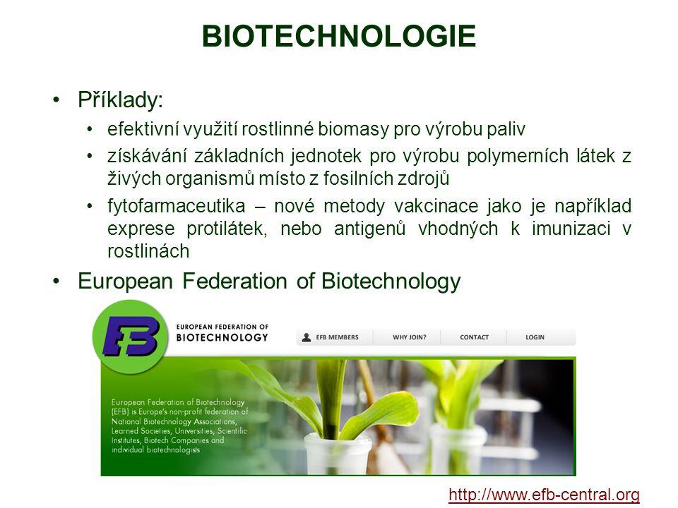 BIOTECHNOLOGIE Příklady: efektivní využití rostlinné biomasy pro výrobu paliv získávání základních jednotek pro výrobu polymerních látek z živých orga