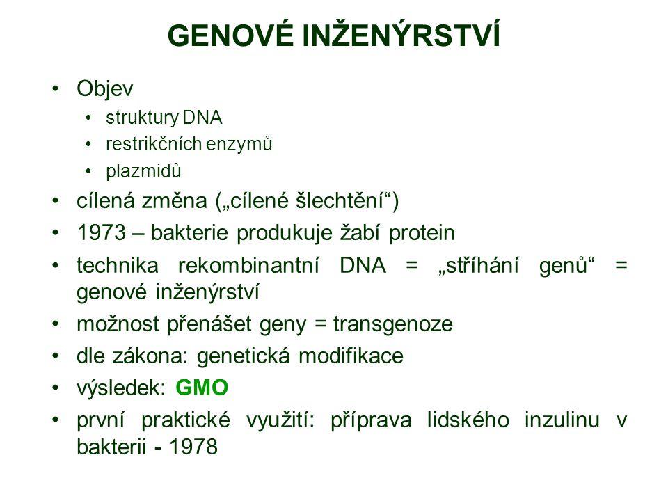 """GENOVÉ INŽENÝRSTVÍ Objev struktury DNA restrikčních enzymů plazmidů cílená změna (""""cílené šlechtění"""") 1973 – bakterie produkuje žabí protein technika"""