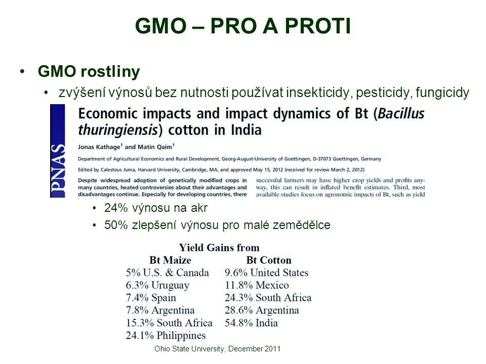 GMO rostliny zvýšení výnosů bez nutnosti používat insekticidy, pesticidy, fungicidy 24% výnosu na akr 50% zlepšení výnosu pro malé zemědělce Ohio Stat