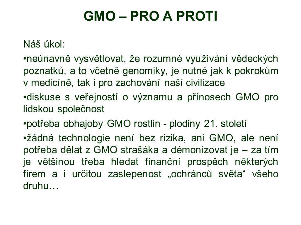 GMO – PRO A PROTI Náš úkol: neúnavně vysvětlovat, že rozumné využívání vědeckých poznatků, a to včetně genomiky, je nutné jak k pokrokům v medicíně, t