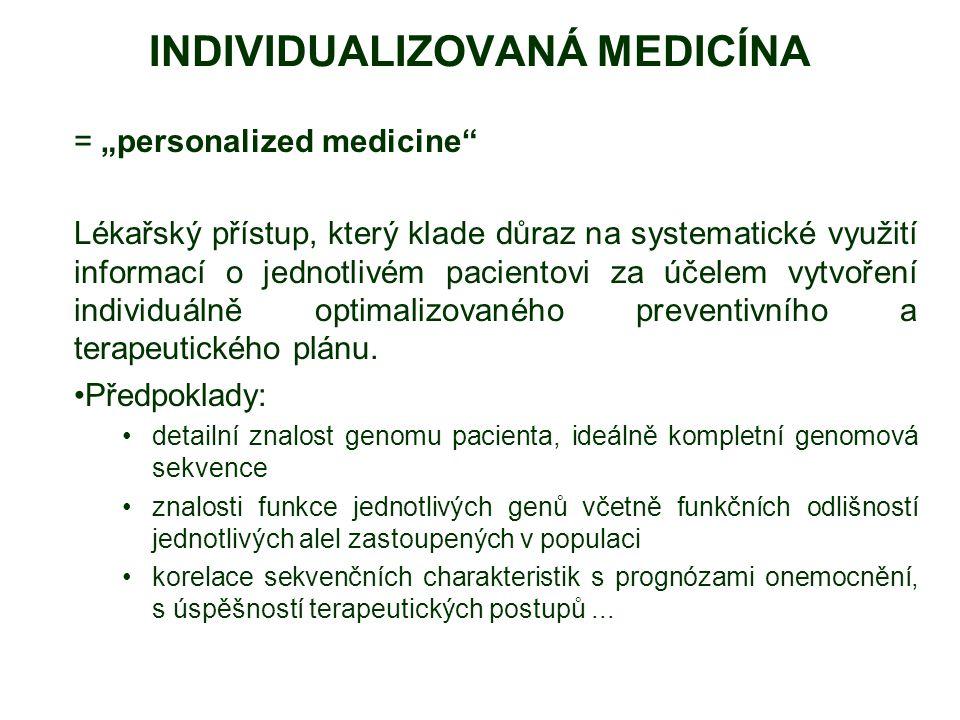 INDIVIDUALIZOVANÁ MEDICÍNA Využívá znalosti genomu k: predikce zdravotních rizik upřesnění diagnózy výběr nejvhodnějšího typu léčby minimalizace vedlejších účinků léčby prevence http://www.personalizedmedicinecoalition.org/
