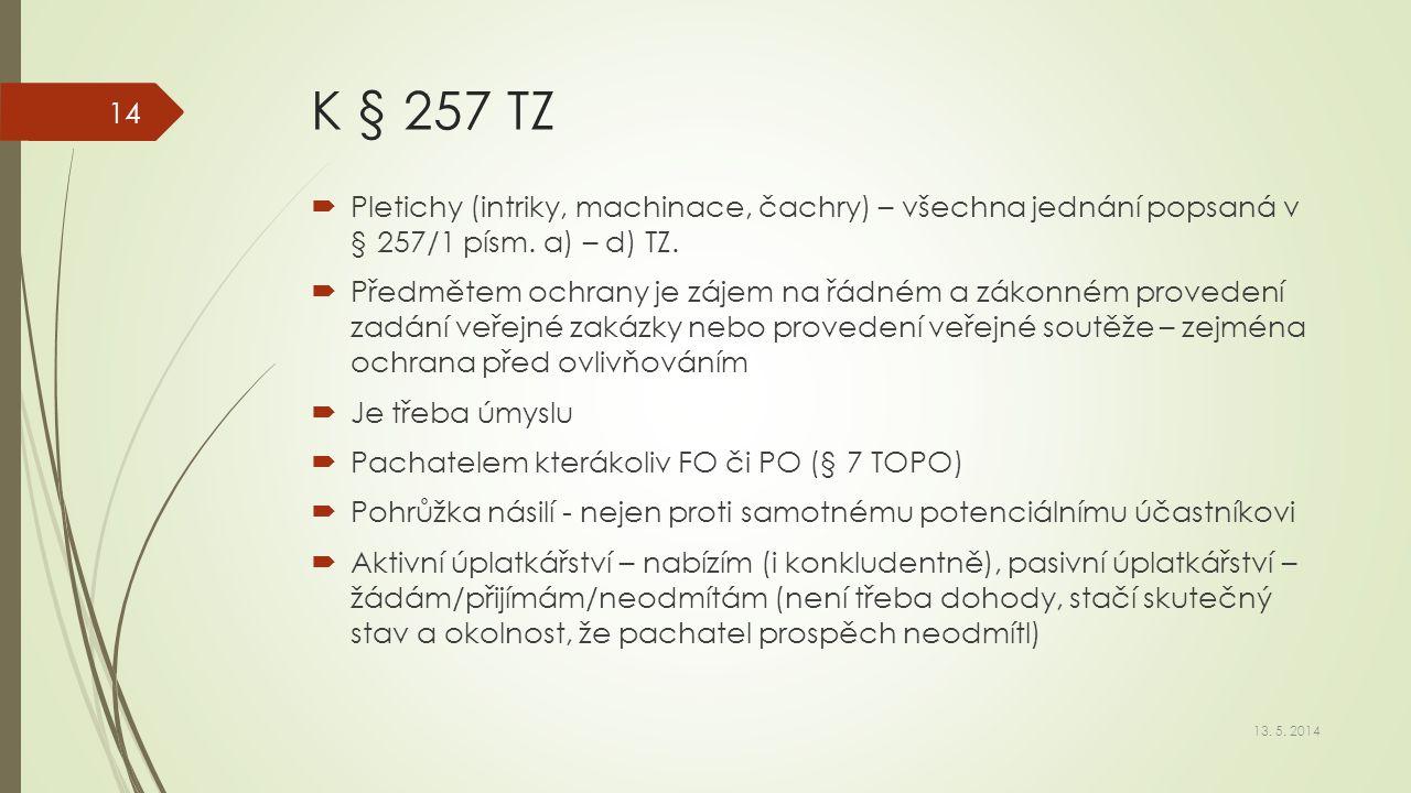 K § 257 TZ  Pletichy (intriky, machinace, čachry) – všechna jednání popsaná v § 257/1 písm. a) – d) TZ.  Předmětem ochrany je zájem na řádném a záko