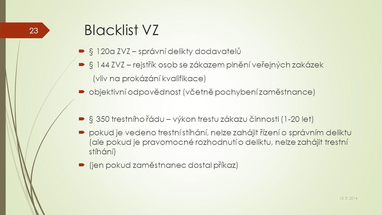 Blacklist VZ  § 120a ZVZ – správní delikty dodavatelů  § 144 ZVZ – rejstřík osob se zákazem plnění veřejných zakázek (vliv na prokázání kvalifikace)