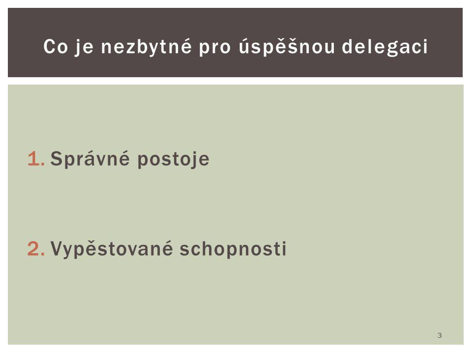 1.Správné postoje 2.Vypěstované schopnosti 3 Co je nezbytné pro úspěšnou delegaci