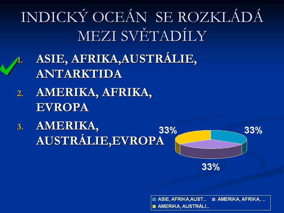 INDICKÝ OCEÁN SE ROZKLÁDÁ MEZI SVĚTADÍLY 1. ASIE, AFRIKA,AUSTRÁLIE, ANTARKTIDA 2. AMERIKA, AFRIKA, EVROPA 3. AMERIKA, AUSTRÁLIE,EVROPA