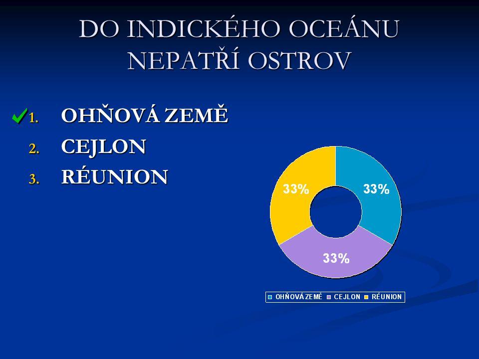 DO INDICKÉHO OCEÁNU NEPATŘÍ OSTROV 1. OHŇOVÁ ZEMĚ 2. CEJLON 3. RÉUNION