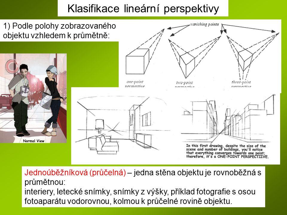Klasifikace lineární perspektivy 1) Podle polohy zobrazovaného objektu vzhledem k průmětně: Jednoúběžníková (průčelná) – jedna stěna objektu je rovnob
