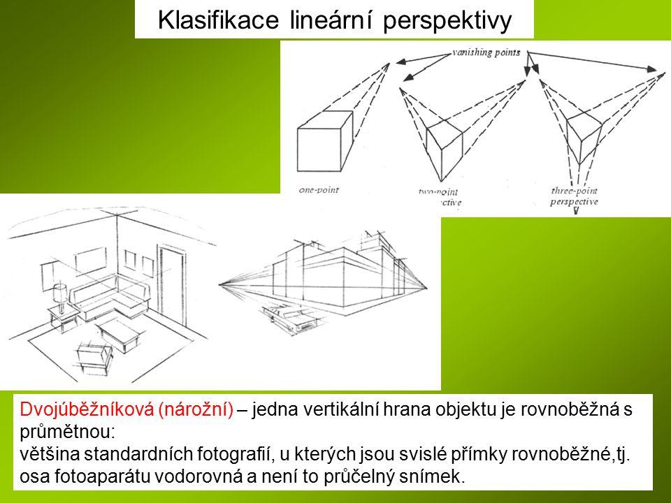 Klasifikace lineární perspektivy Dvojúběžníková (nárožní) – jedna vertikální hrana objektu je rovnoběžná s průmětnou: většina standardních fotografií,