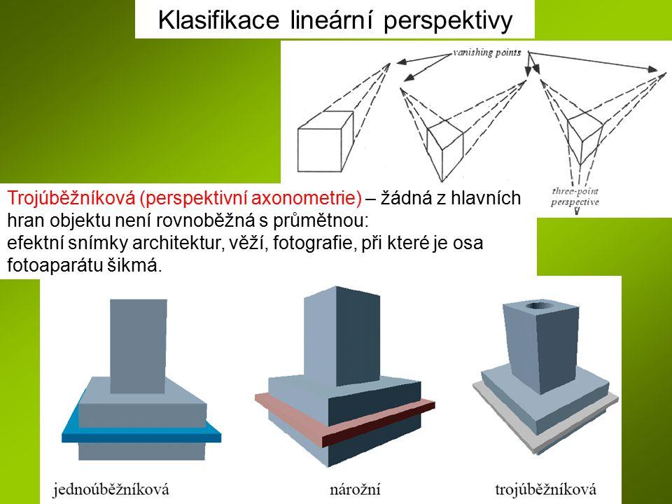 Klasifikace lineární perspektivy Trojúběžníková (perspektivní axonometrie) – žádná z hlavních hran objektu není rovnoběžná s průmětnou: efektní snímky