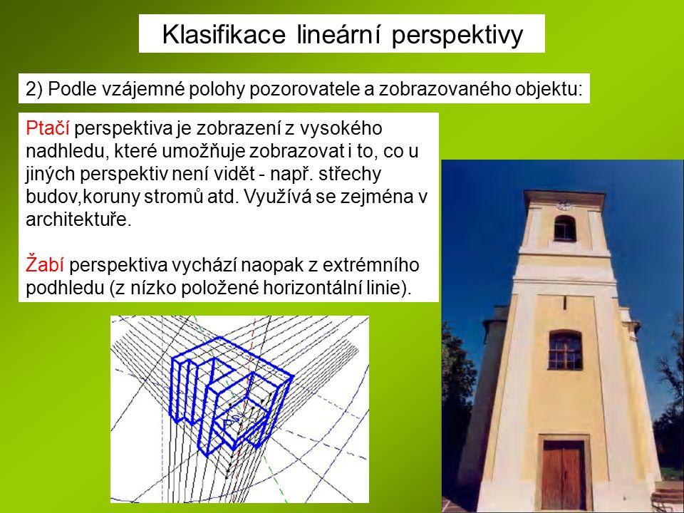 Klasifikace lineární perspektivy 2) Podle vzájemné polohy pozorovatele a zobrazovaného objektu: Ptačí perspektiva je zobrazení z vysokého nadhledu, kt