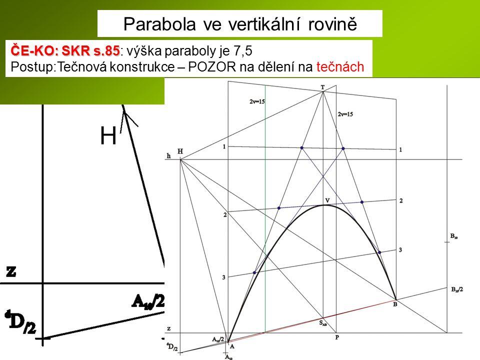 Parabola ve vertikální rovině ČE-KO: SKR s.85 ČE-KO: SKR s.85: výška paraboly je 7,5 Postup:Tečnová konstrukce – POZOR na dělení na tečnách