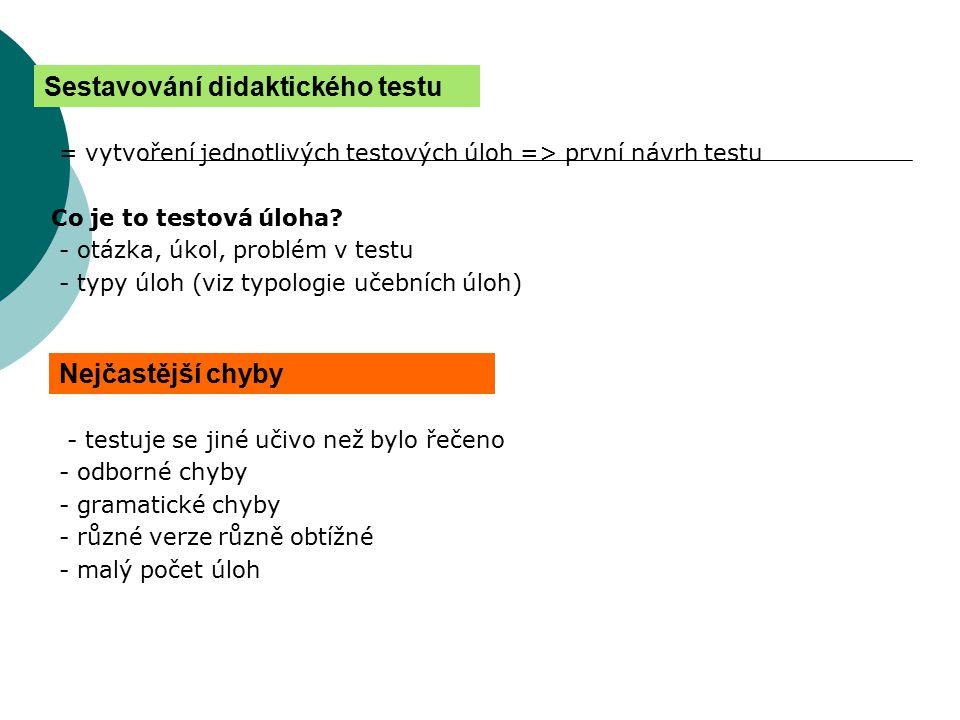 = vytvoření jednotlivých testových úloh => první návrh testu Co je to testová úloha? - otázka, úkol, problém v testu - typy úloh (viz typologie učební