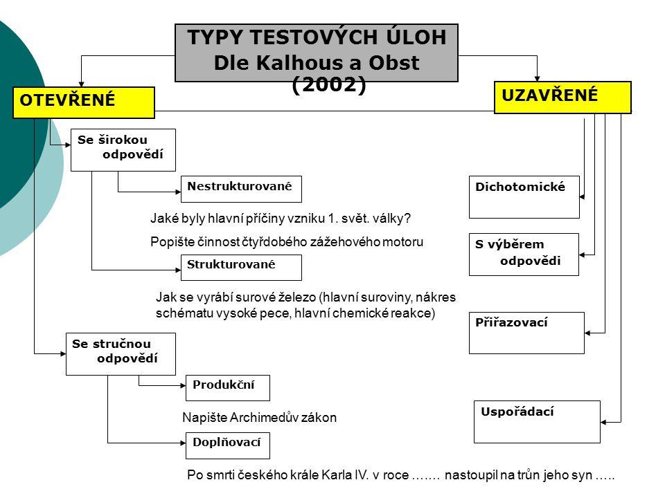 TYPY TESTOVÝCH ÚLOH Dle Kalhous a Obst (2002) UZAVŘENÉ OTEVŘENÉ Se širokou odpovědí Se stručnou odpovědí Nestrukturované Strukturované Produkční Doplň