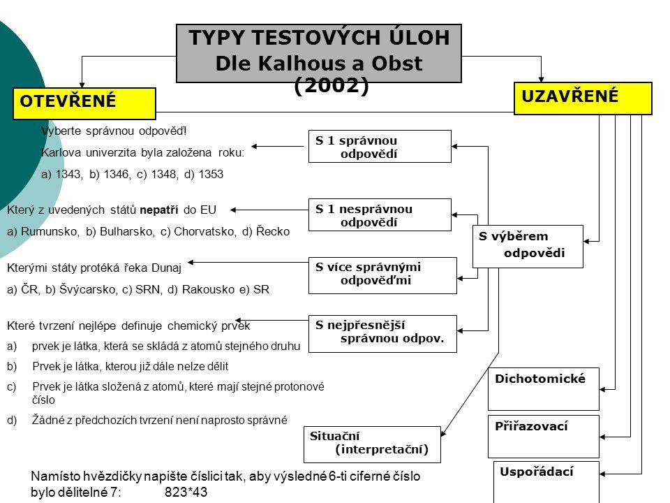 TYPY TESTOVÝCH ÚLOH Dle Kalhous a Obst (2002) UZAVŘENÉ OTEVŘENÉ S více správnými odpověďmi S výběrem odpovědi Přiřazovací Uspořádací Vyberte správnou