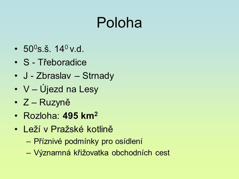 Poloha 50 0 s.š. 14 0 v.d. S - Třeboradice J - Zbraslav – Strnady V – Újezd na Lesy Z – Ruzyně Rozloha: 495 km 2 Leží v Pražské kotlině –Příznivé podm