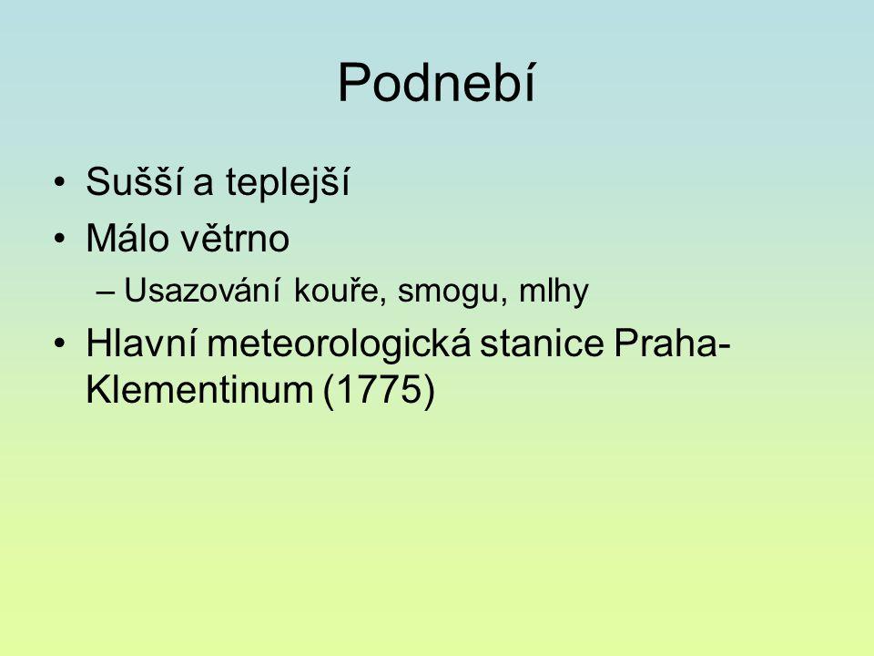 Podnebí Sušší a teplejší Málo větrno –Usazování kouře, smogu, mlhy Hlavní meteorologická stanice Praha- Klementinum (1775)