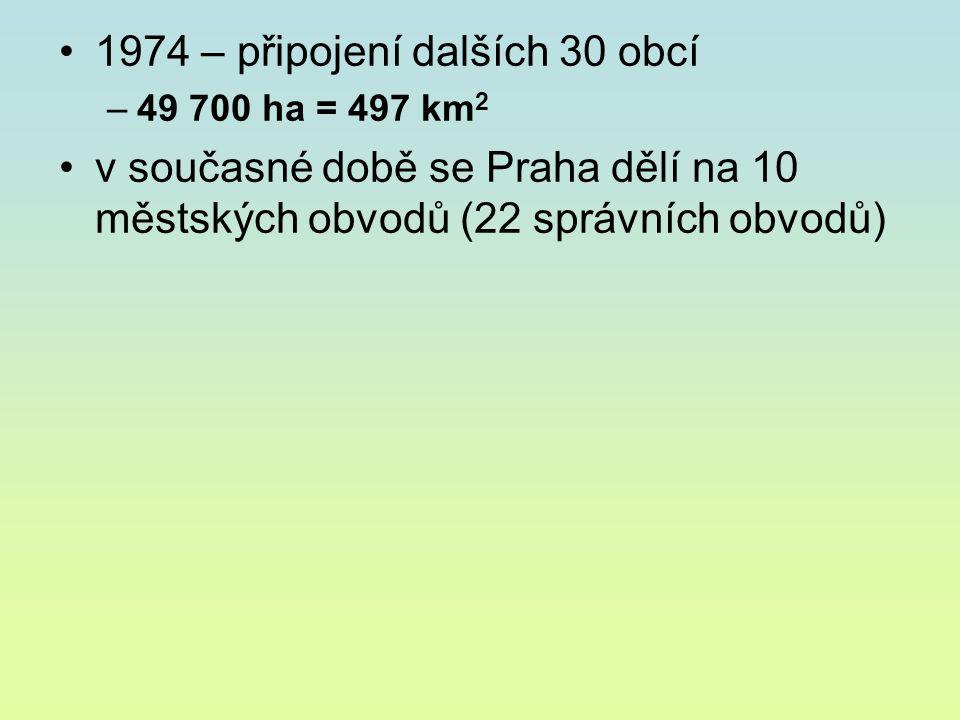 1974 – připojení dalších 30 obcí –49 700 ha = 497 km 2 v současné době se Praha dělí na 10 městských obvodů (22 správních obvodů)