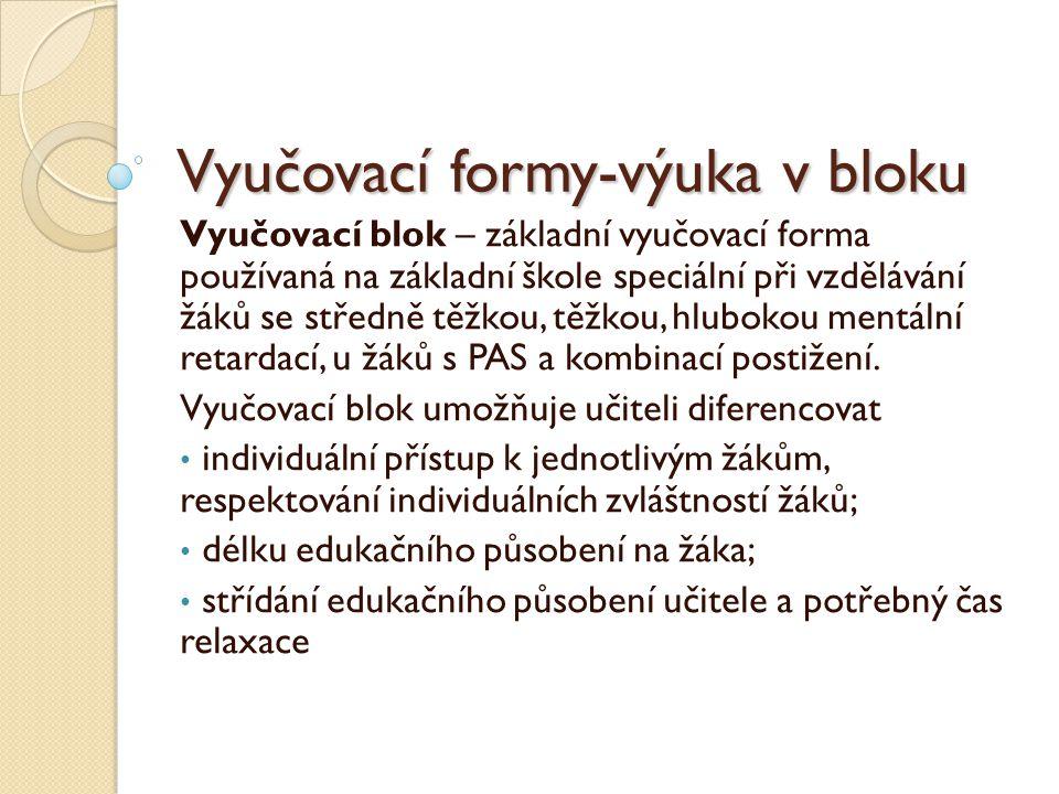 Vyučovací formy-výuka v bloku Vyučovací blok – základní vyučovací forma používaná na základní škole speciální při vzdělávání žáků se středně těžkou, t