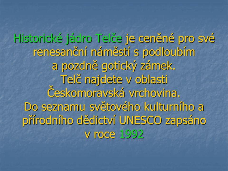 Historické jádro Telče je ceněné pro své renesanční náměstí s podloubím a pozdně gotický zámek. Telč najdete v oblasti Českomoravská vrchovina. Do sez