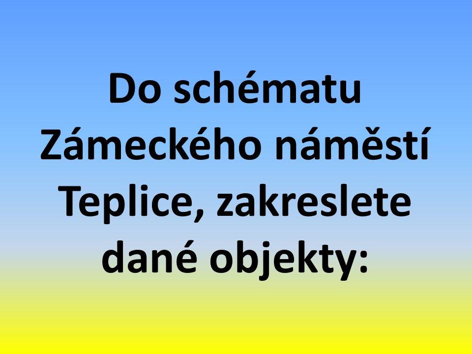 Do schématu Zámeckého náměstí Teplice, zakreslete dané objekty: