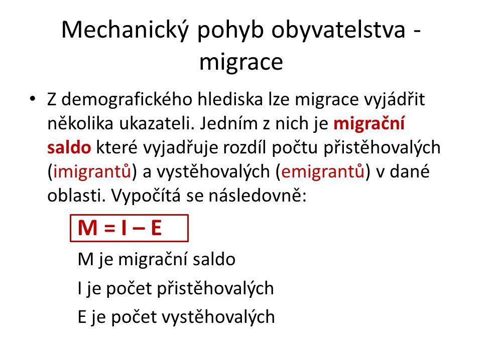 Mechanický pohyb obyvatelstva - migrace Z demografického hlediska lze migrace vyjádřit několika ukazateli. Jedním z nich je migrační saldo které vyjad
