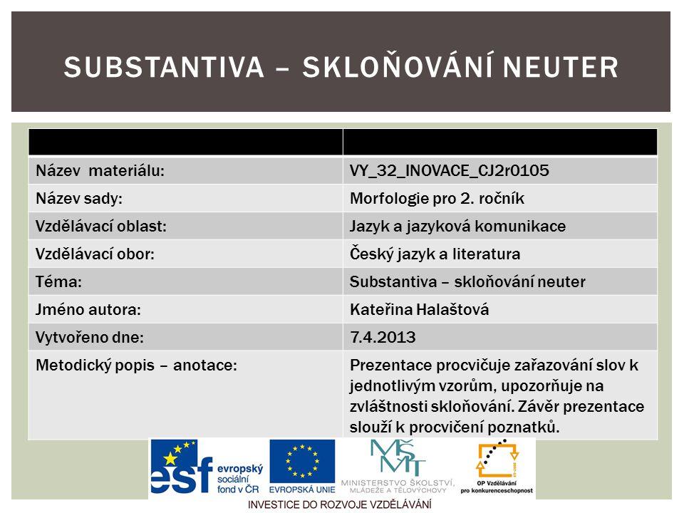 Název materiálu:VY_32_INOVACE_CJ2r0105 Název sady:Morfologie pro 2. ročník Vzdělávací oblast:Jazyk a jazyková komunikace Vzdělávací obor:Český jazyk a