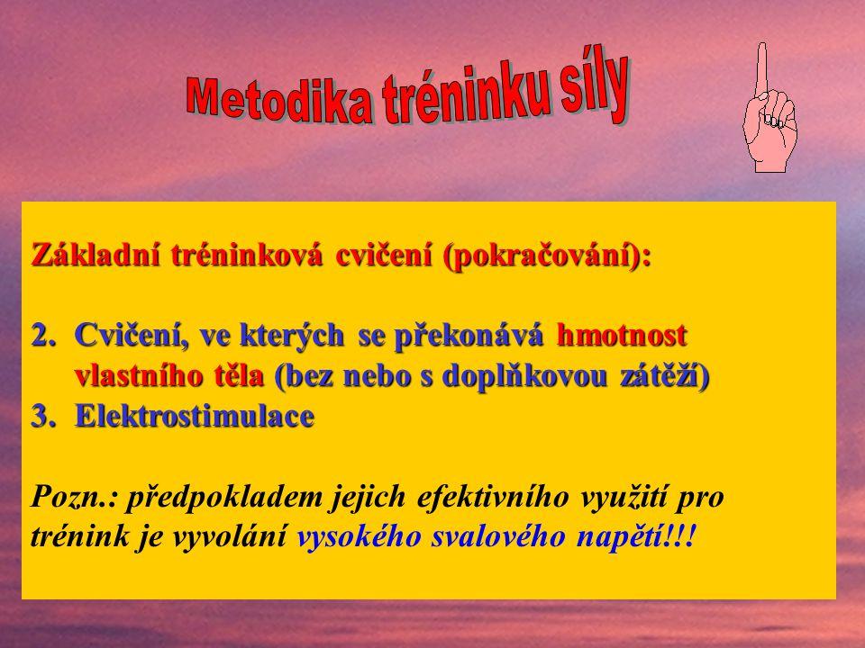 Základní tréninková cvičení (prostředky stimulace S): 1.Cvičení s vnějším odporem, který je vyvolán: hmotností břemene (činka, partner…) odporem (spol