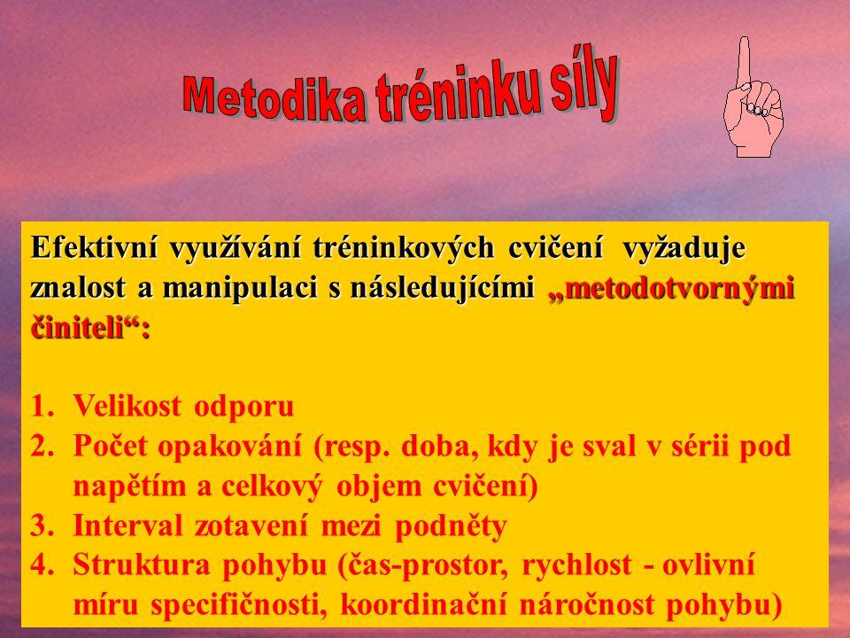 Základní tréninková cvičení (pokračování): 2.Cvičení, ve kterých se překonává hmotnost vlastního těla (bez nebo s doplňkovou zátěží) 3.Elektrostimulac