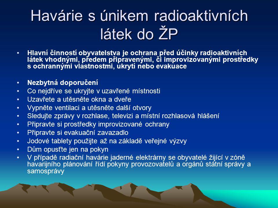 Havárie s únikem radioaktivních látek do ŽP Hlavní činností obyvatelstva je ochrana před účinky radioaktivních látek vhodnými, předem připravenými, či
