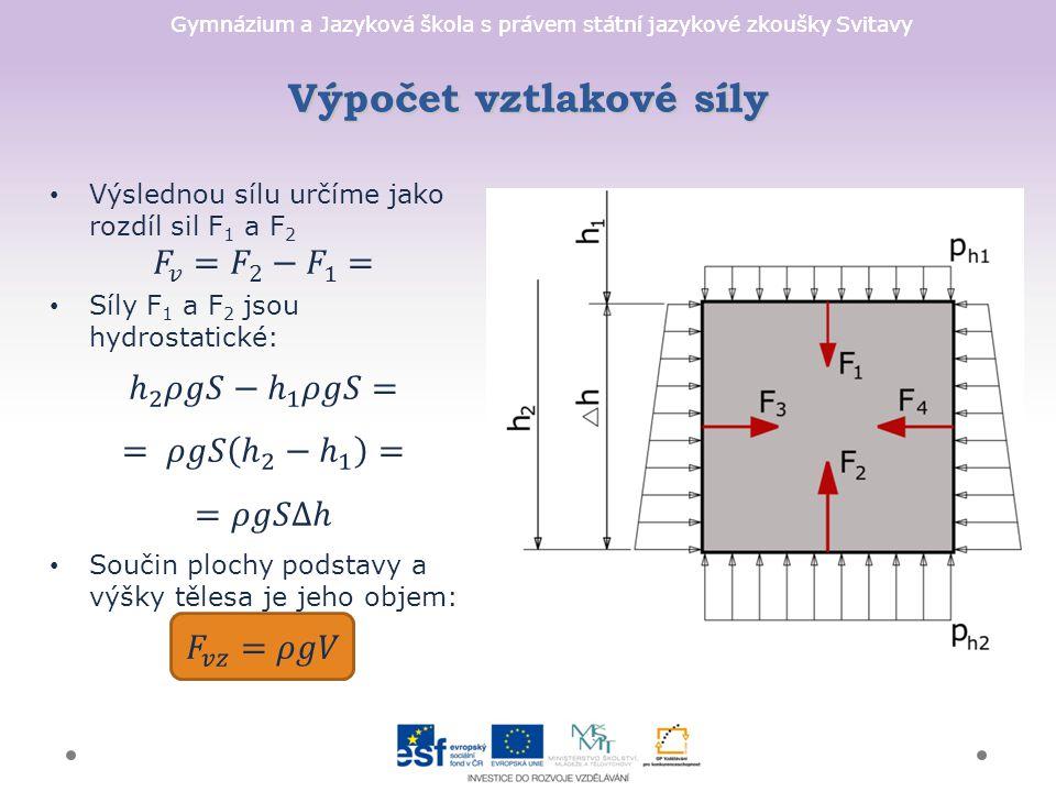 Gymnázium a Jazyková škola s právem státní jazykové zkoušky Svitavy Výpočet vztlakové síly