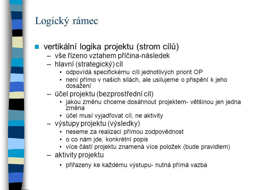 Logický rámec vertikální logika projektu (strom cílů) –vše řízeno vztahem příčina-následek –hlavní (strategický) cíl odpovídá specifickému cíli jednotlivých priorit OP není přímo v našich silách, ale usilujeme o přispění k jeho dosažení –účel projektu (bezprostřední cíl) jakou změnu chceme dosáhnout projektem- většinou jen jedna změna účel musí vyjadřovat cíl, ne aktivity –výstupy projektu (výsledky) neseme za realizaci přímou zodpovědnost o co nám jde, konkrétní popis více částí projektu znamená více položek (bude pravidlem) –aktivity projektu přiřazeny ke každému výstupu- nutná přímá vazba
