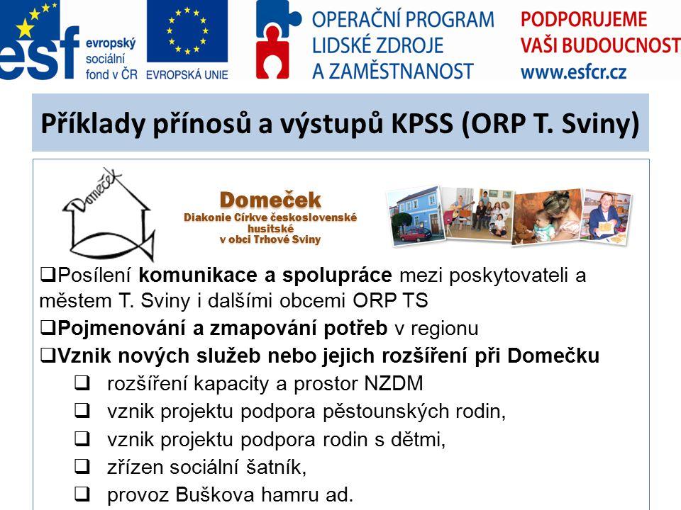 Příklady přínosů a výstupů KPSS (ORP T. Sviny)  Posílení komunikace a spolupráce mezi poskytovateli a městem T. Sviny i dalšími obcemi ORP TS  Pojme