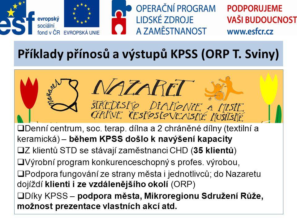 Příklady přínosů a výstupů KPSS (ORP T. Sviny)  Denní centrum, soc. terap. dílna a 2 chráněné dílny (textilní a keramická) – během KPSS došlo k navýš