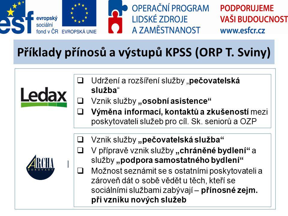 """Příklady přínosů a výstupů KPSS (ORP T. Sviny)  Udržení a rozšíření služby """"pečovatelská služba""""  Vznik služby """"osobní asistence""""  Výměna informací"""