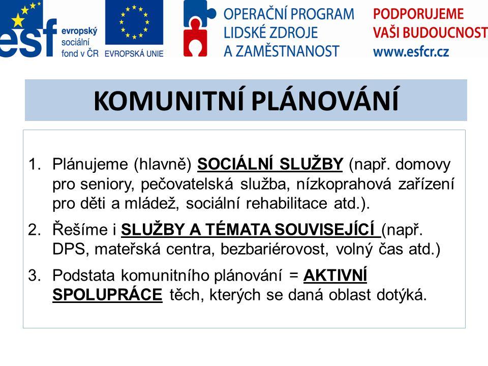 1.Plánujeme (hlavně) SOCIÁLNÍ SLUŽBY (např. domovy pro seniory, pečovatelská služba, nízkoprahová zařízení pro děti a mládež, sociální rehabilitace at