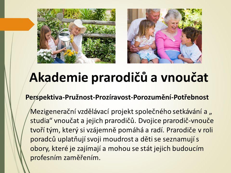 """Akademie prarodičů a vnoučat Perspektiva-Pružnost-Prozíravost-Porozumění-Potřebnost Mezigenerační vzdělávací projekt společného setkávání a """" studia vnoučat a jejich prarodičů."""