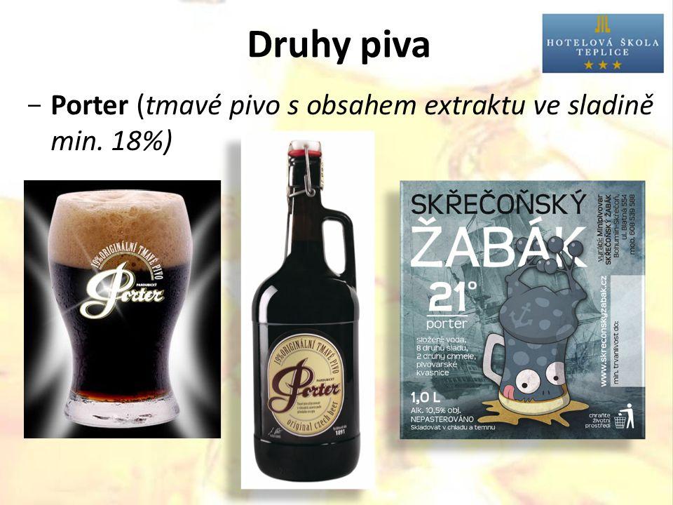 Druhy piva  Porter (tmavé pivo s obsahem extraktu ve sladině min. 18%)