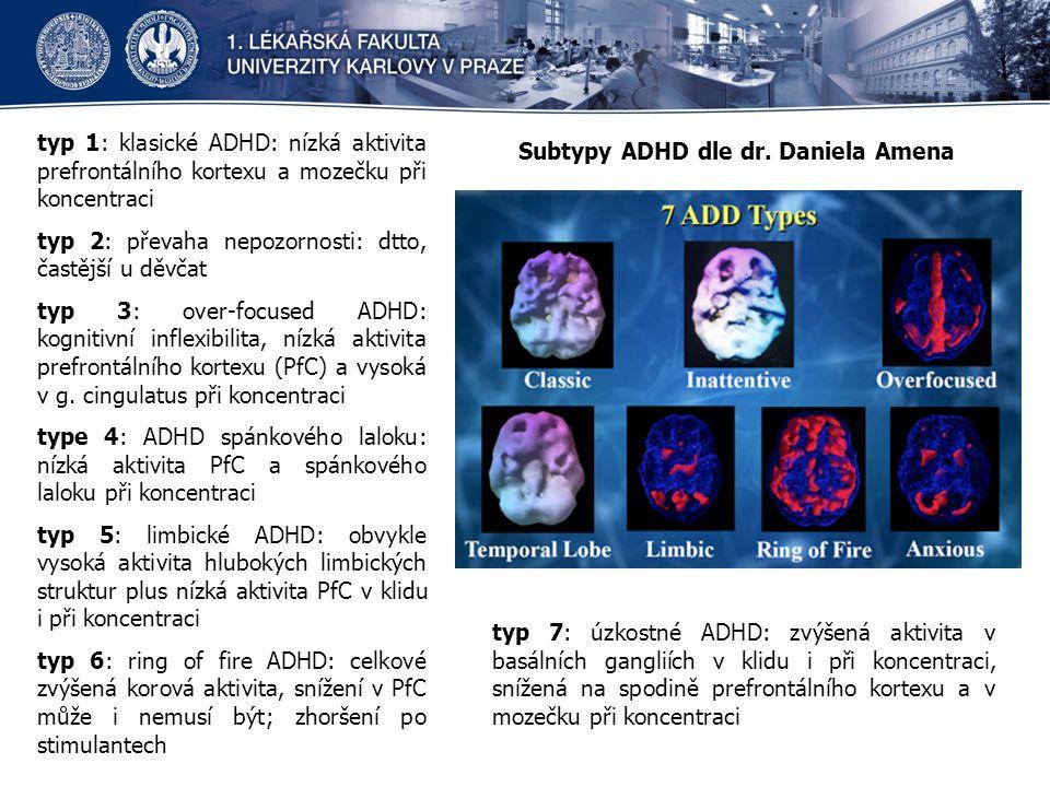 typ 1: klasické ADHD: nízká aktivita prefrontálního kortexu a mozečku při koncentraci typ 2: převaha nepozornosti: dtto, častější u děvčat typ 3: over-focused ADHD: kognitivní inflexibilita, nízká aktivita prefrontálního kortexu (PfC) a vysoká v g.