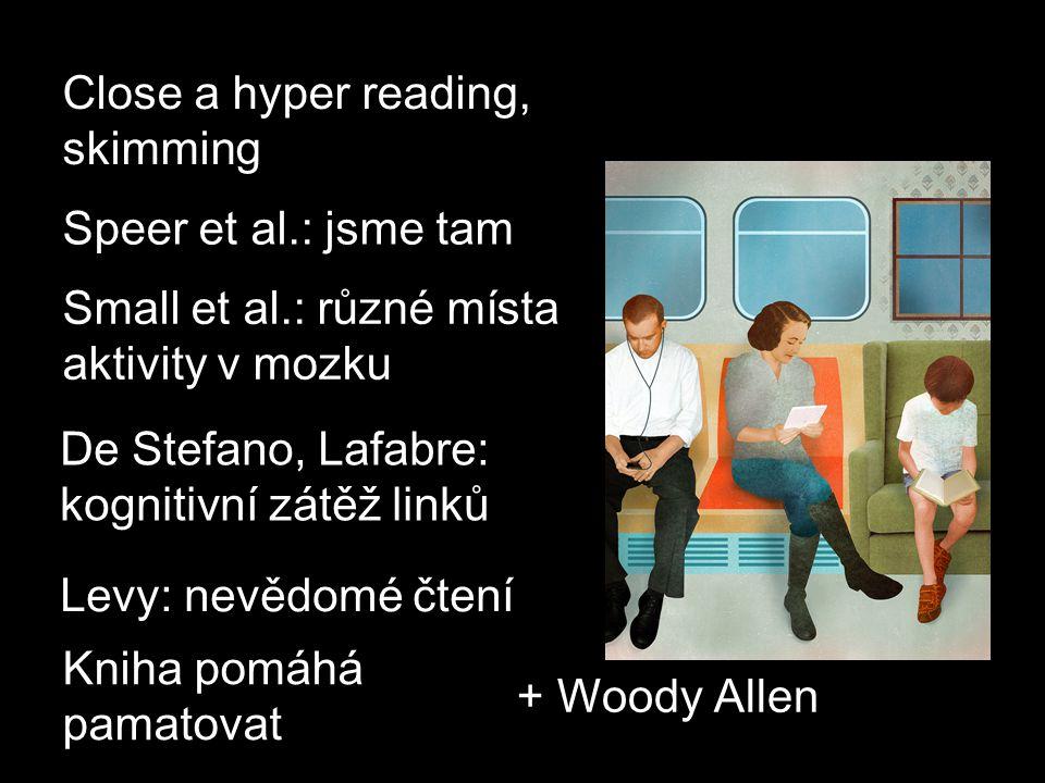 De Stefano, Lafabre: kognitivní zátěž linků Small et al.: různé místa aktivity v mozku Kniha pomáhá pamatovat Levy: nevědomé čtení Close a hyper reading, skimming + Woody Allen Speer et al.: jsme tam