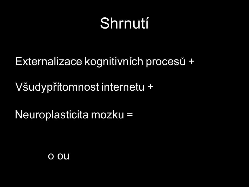 Shrnutí Externalizace kognitivních procesů + Všudypřítomnost internetu + Neuroplasticita mozku = o ou