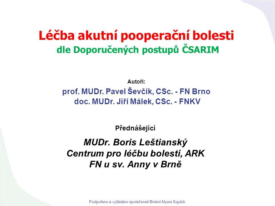Léčba akutní pooperační bolesti dle Doporučených postupů ČSARIM Přednášející MUDr. Boris Leštianský Centrum pro léčbu bolesti, ARK FN u sv. Anny v Brn