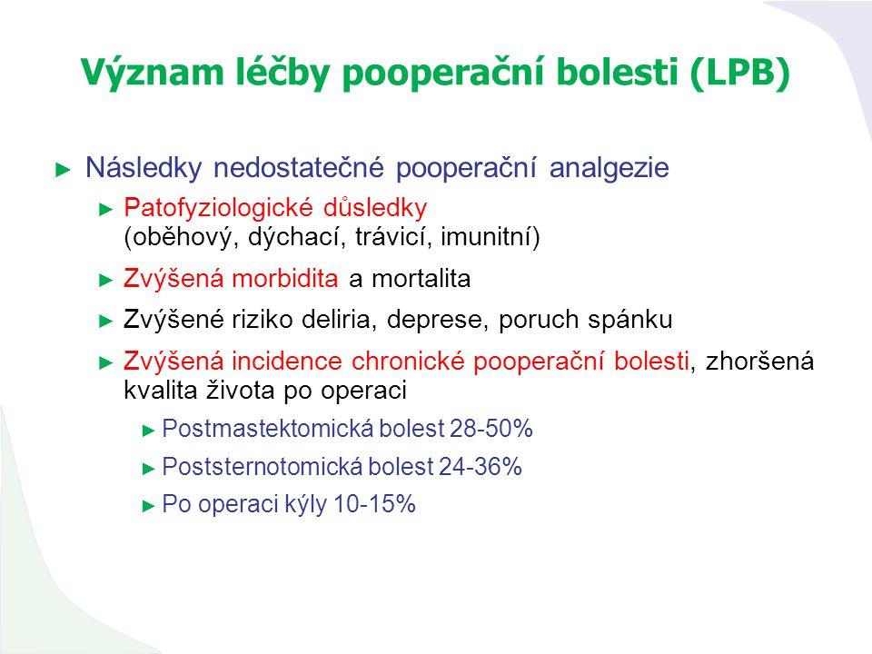 Význam léčby pooperační bolesti (LPB) ► Následky nedostatečné pooperační analgezie ► Patofyziologické důsledky (oběhový, dýchací, trávicí, imunitní) ►