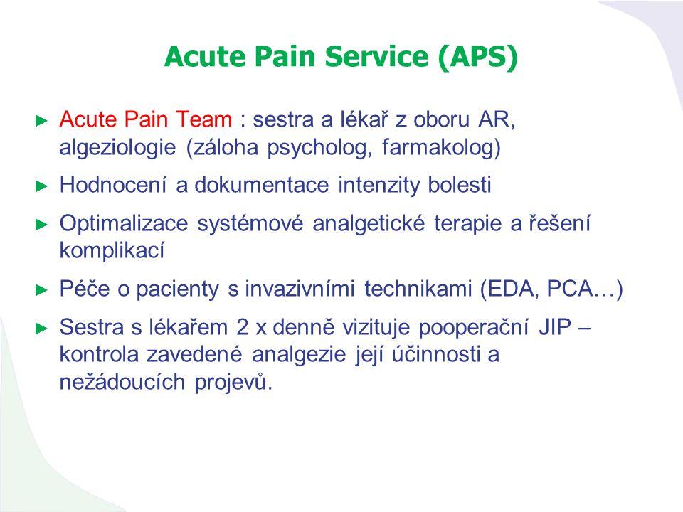 Acute Pain Service (APS) ► Acute Pain Team : sestra a lékař z oboru AR, algeziologie (záloha psycholog, farmakolog) ► Hodnocení a dokumentace intenzit