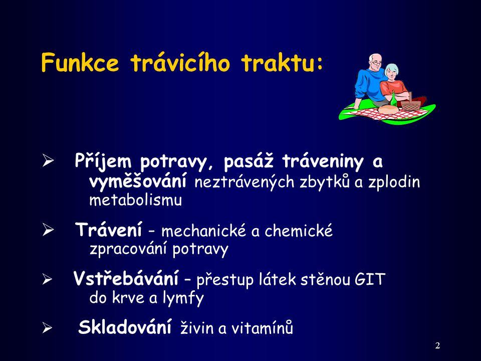 2 Funkce trávicího traktu:  Příjem potravy, pasáž tráveniny a vyměšování neztrávených zbytků a zplodin metabolismu  Trávení - mechanické a chemické