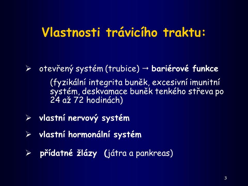 3 Vlastnosti trávicího traktu:  otevřený systém (trubice)  bariérové funkce (fyzikální integrita buněk, excesivní imunitní systém, deskvamace buněk