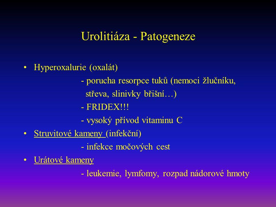 Urolitiáza - Patogeneze Hyperoxalurie (oxalát) - porucha resorpce tuků (nemoci žlučníku, střeva, slinivky břišní…) - FRIDEX!!! - vysoký přívod vitamin