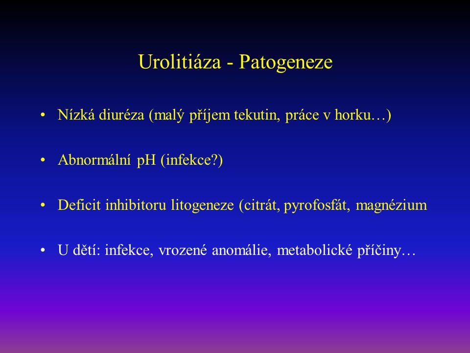 Urolitiáza - Patogeneze Nízká diuréza (malý příjem tekutin, práce v horku…) Abnormální pH (infekce?) Deficit inhibitoru litogeneze (citrát, pyrofosfát, magnézium U dětí: infekce, vrozené anomálie, metabolické příčiny…