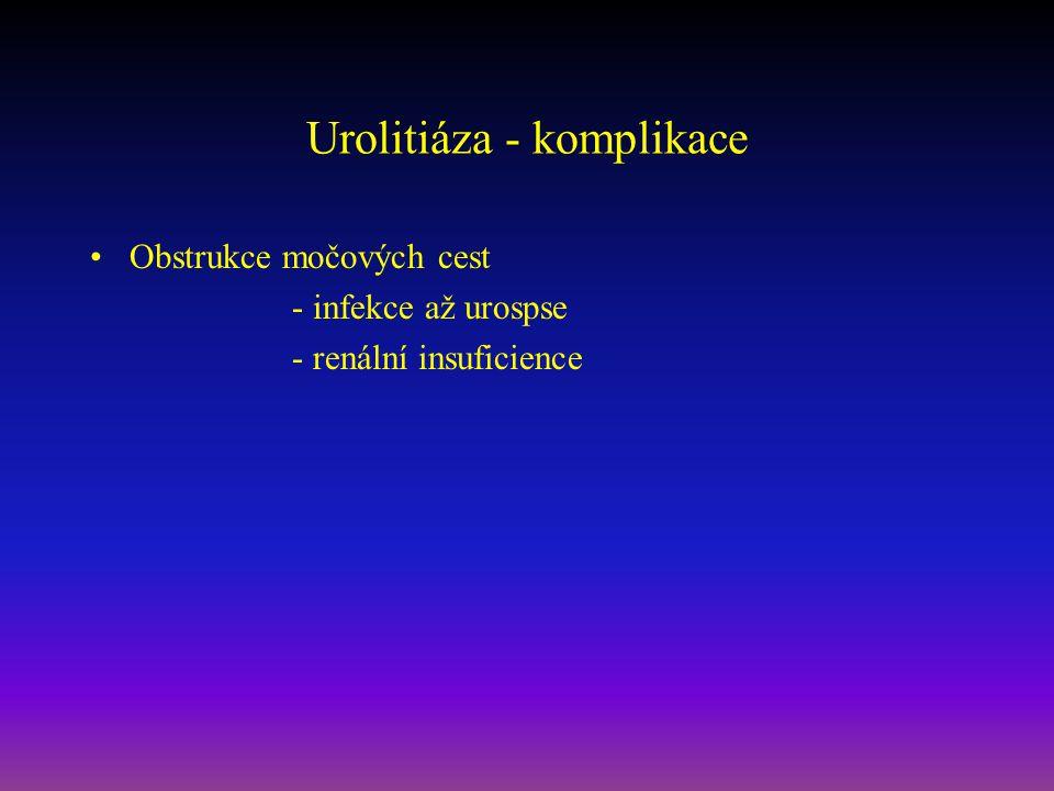 Urolitiáza - komplikace Obstrukce močových cest - infekce až urospse - renální insuficience