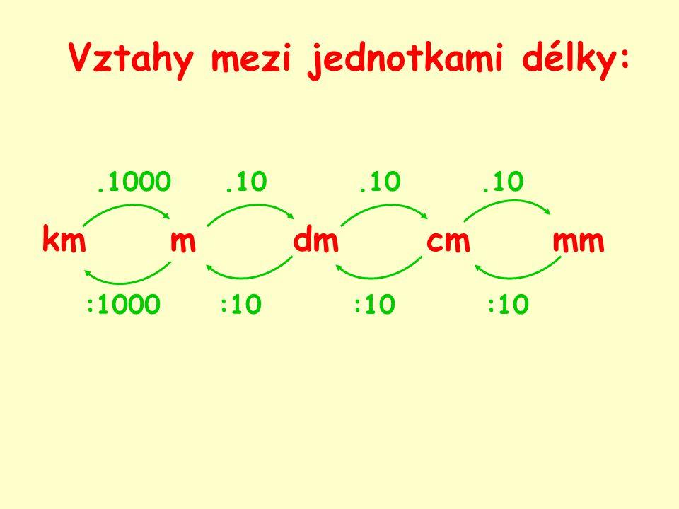 Vztahy mezi jednotkami délky: kmcmmm.1000 :1000 m dm.10 :10.10 :10.10 :10